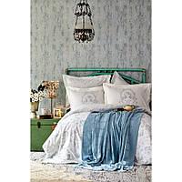 Набор постельное белье с пледом Karaca Home - Trella mavi 2020-1 синий евро