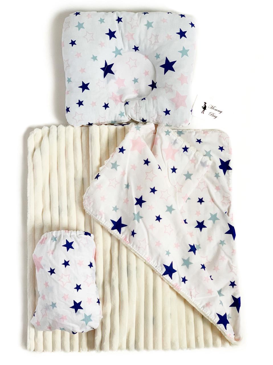 Набор в детскую кроватку (простынь, плед, подушка) Звездочки №9