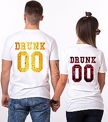 """Парные именные футболки """"Drunk - Beer and Wine"""" [Цифры можно менять] (50-100% предоплата)"""