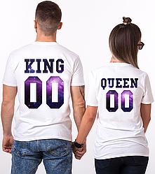 """Парные именные футболки """"KING/QUEEN - Space"""" [Цифры можно менять] (50-100% предоплата)"""