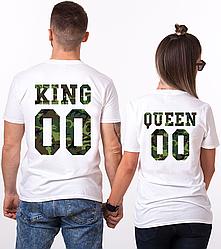 """Парные именные футболки """"KING/QUEEN - Military"""" [Цифры можно менять] (50-100% предоплата)"""