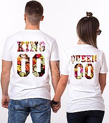 """Парные именные футболки """"KING/QUEEN - Flowers"""" [Цифры можно менять] (50-100% предоплата)"""