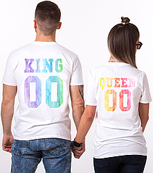 """Парные именные футболки """"KING/QUEEN - Multicolor Watercolor"""" [Цифры можно менять] (50-100% предоплата)"""