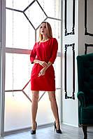 Красное короткое платье с поясом