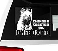 Автомобильная наклейка на стекло Китайская хохлатая собака (КХС) на борту (Chinese Crested Dog on Board), фото 1