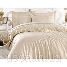 Комплект постельного белья сатин c гипюром  ТМ Gardine's Mila bej