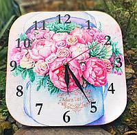 Часы настенные, часы на кухню, ручная работа. Цветы, шеби шик, Прованс