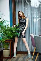 Модное кожаное платье черное
