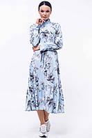 Романтичное платье миди с длинным рукавом Рут в стиле бохо 42-52 размеры серо-голубое