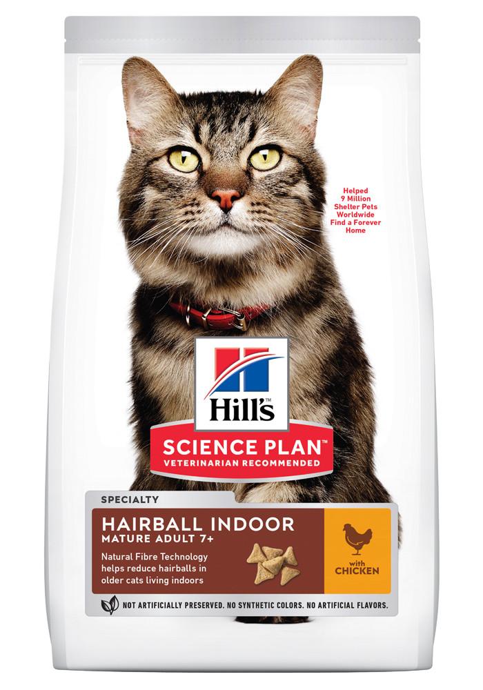 Сухой корм Hill's Science Plan Hairball Indoor для выведения шерсти у домашних кошек старшего возраста- 1,5 кг
