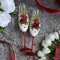 Набор свадебных бокалов для шампанского, красного цвета