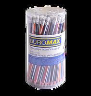 Олівець графітовий НВ, трикутний, асорті, з гумкою, туба