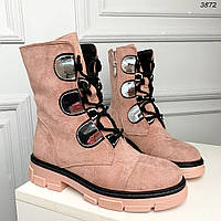 Высоки розовые деми ботинки замша, фото 1