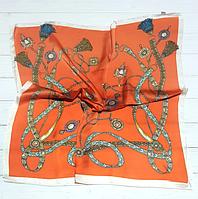 Шелковый шейный Амира, 70х70 см, оранжевый