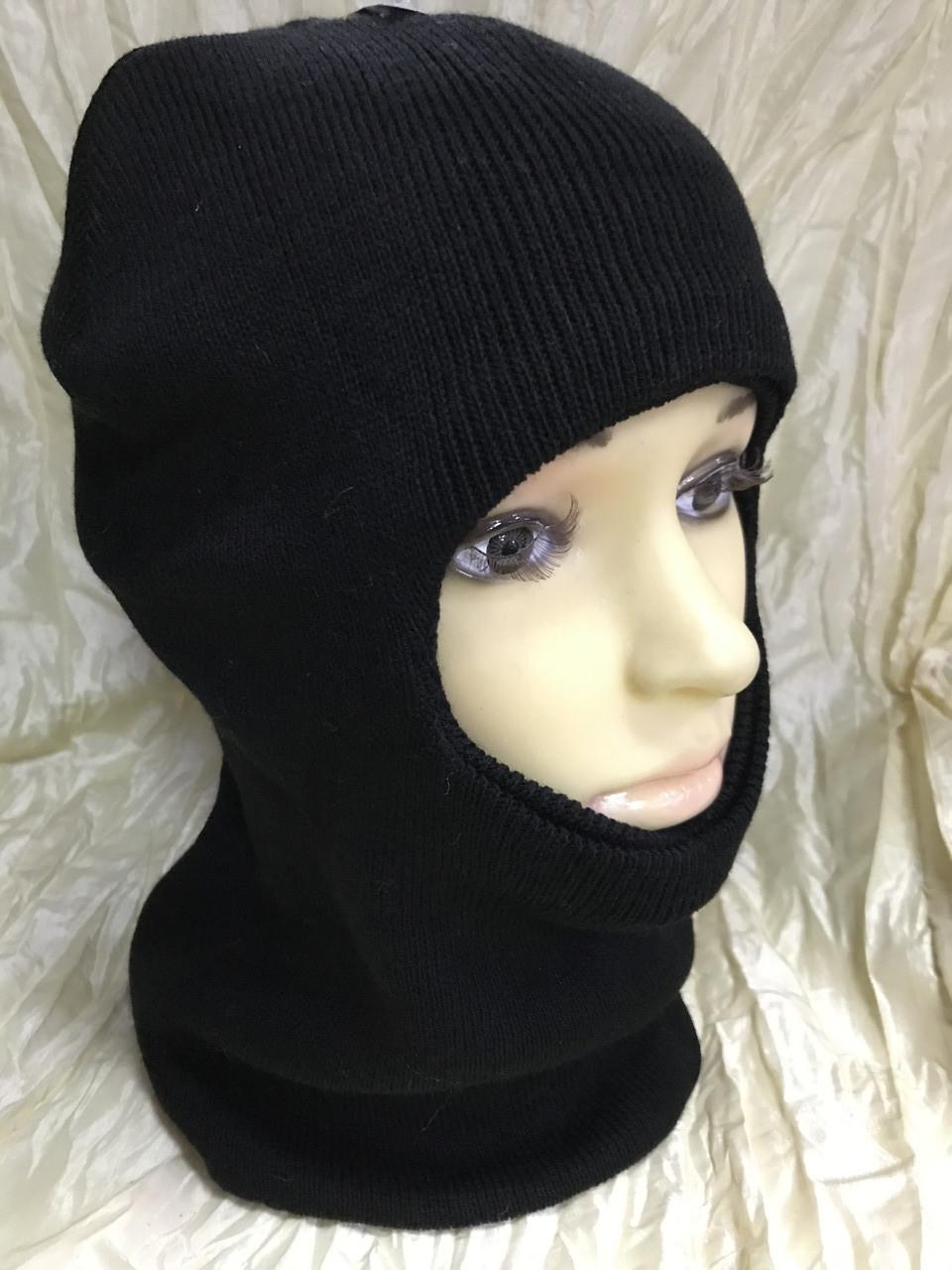 Мужская чёрная шапка балаклава подшлемник