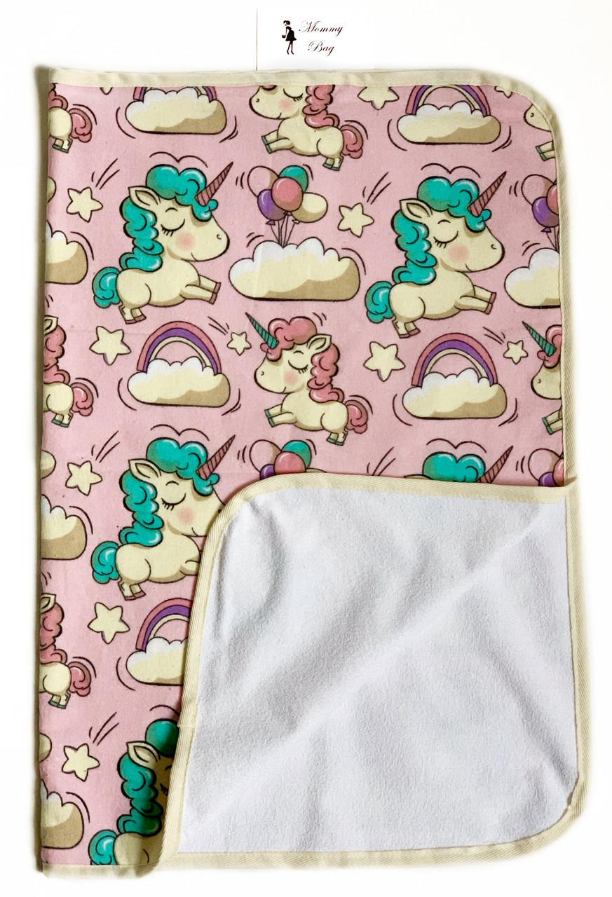 Непромокаемая пеленка многоразовая Розовые единороги - #2