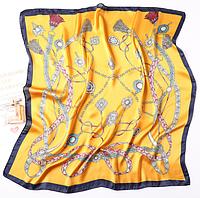 Шелковый шейный Амира, 70х70 см, желтый