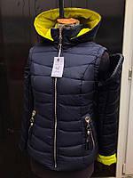 Женская демисезонная  куртка жилетка весна-осень со съмными рукавами. Куртка/жилет трансформер  Цвет черный