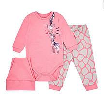 Милый розовый набор из трех предметов для девочки Жираф 68-86 р