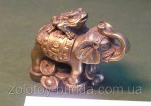 Слон с трехлапой Жабой бронза