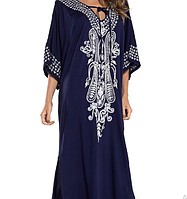 Размер 54-58 (3XL-5XL) Летнее синее хлопковое женское пляжное платье-парео с вышивкой, накидка на купальник