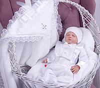 Набор для мальчика на крестины Крыжма Бантик+Фрак белый
