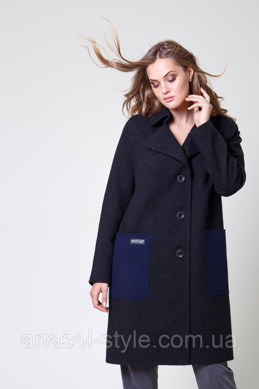 Пальто жіноче шерстяне із синіми накладними кишенями графіт
