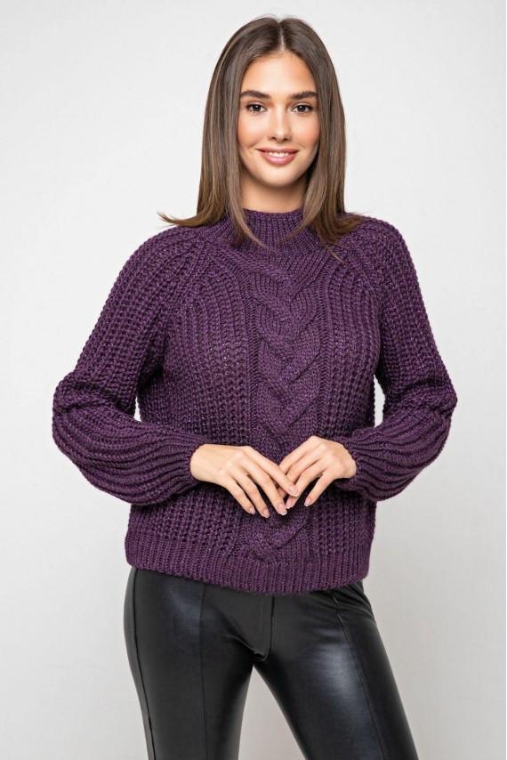 Укореченый свитер крупная вязка 42-48 размеры с люрексом