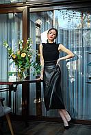 Кожаная юбка на запах черная, фото 1