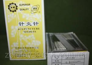 Посеребрянные голки для акупунктури і рефлексотерапії 0,30*50мм - 200игл SUPERIOR QUALITY