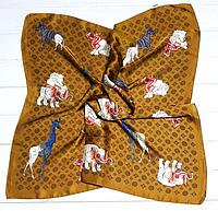 Шелковый шейный платок Fashion Зоо 70х70 см охра