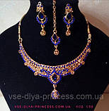 Індійський комплект кольє, тика, сережки до сарі під золото з бірюзовими камінням, фото 10