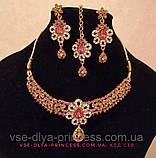 Индийский комплект колье, тика, серьги к сари под золото с розовыми камнями, фото 10