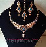 Индийский комплект колье, тика, серьги к сари под золото с бирюзовыми камнями, фото 10