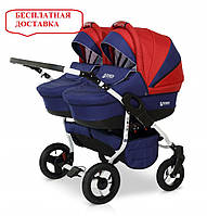 Детская универсальная коляска для двойни 2 в 1 Verdi Twin 04 красный/синий
