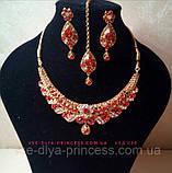 Индийский комплект колье, тика, серьги к сари под золото с красными камнями, фото 9