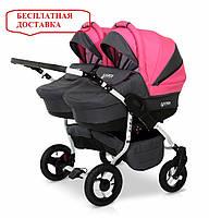 Детская универсальная коляска для двойни 2 в 1 Verdi Twin 08 Розовый