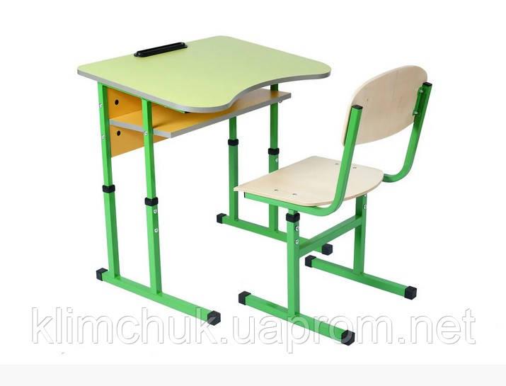 Комплект: стіл учнівський 1-місний з полицею антисколіозний, №4-6 + стілець Т-подібний, №4-6 регулюємі