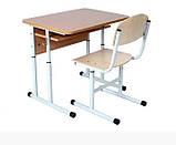 Комплект: стіл учнівський 1-місний з полицею антисколіозний, №4-6 + стілець Т-подібний, №4-6 регулюємі, фото 3