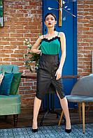 Черная облегающая юбка из эко-кожи