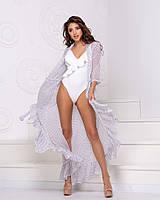 Стильный женский купальник слитный белого цвета с рюшами