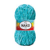 Плюшевая пряжа Nako Lily 363 голубой (Нако Лили, Нако Лилу) нитки для вязания 100% полиэстер