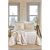 Набор постельное белье с покрывалом + плед Karaca Home - Desire bej 2020-1 бежевый евро (10)