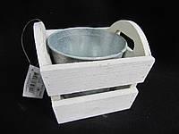 Ящик белый с цинковым ведром, в-11см, (85\65) (цена за 1 шт. +20 грн.)