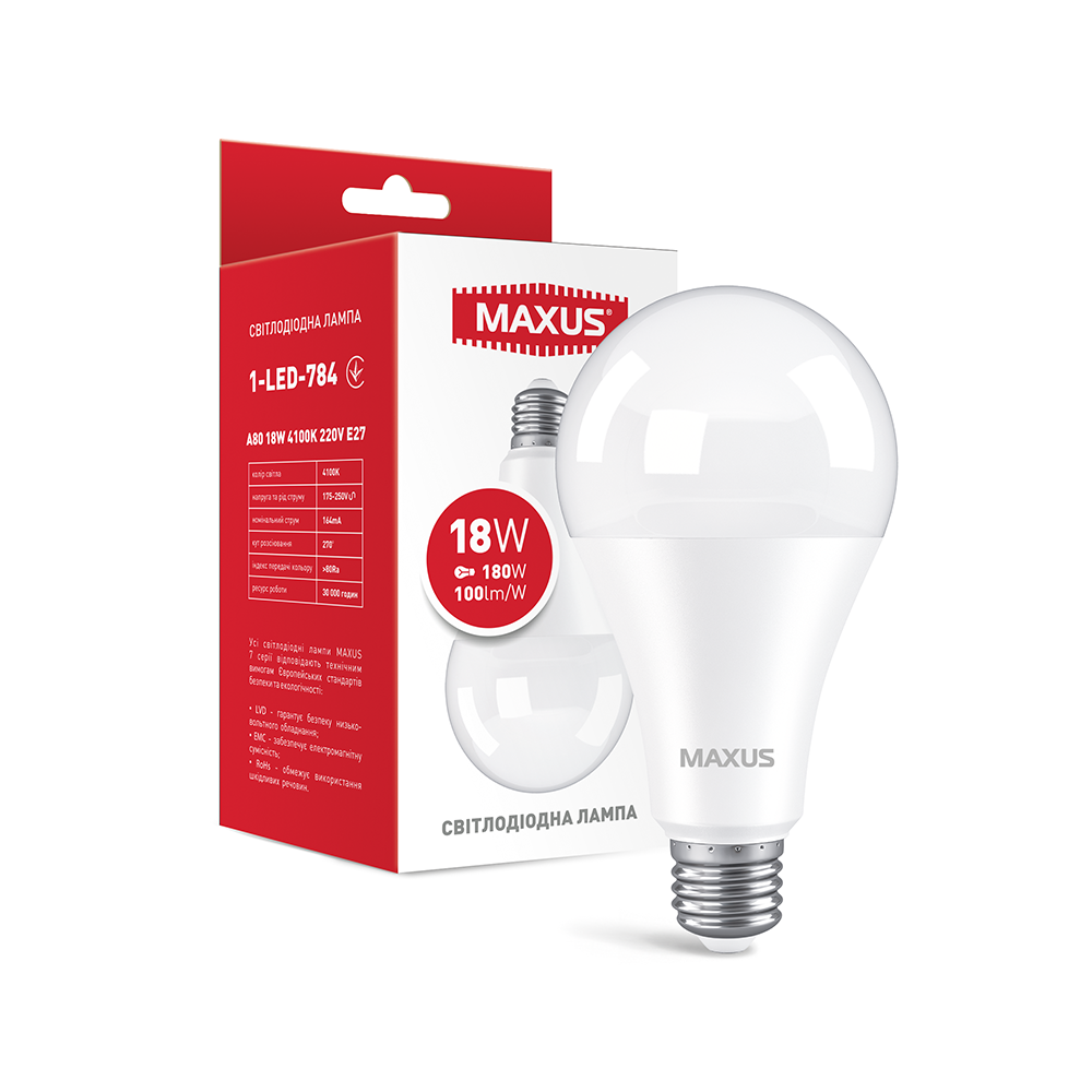 Светодиодная Лампа 18W A80 E27 MAXUS 1800lm 4100k