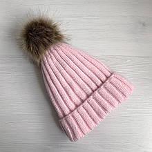 Детская зимняя шапка с теплым мехом для девочки 8-9-10-11 лет, светло-розовая пудра