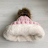 Детская зимняя шапка с теплым мехом для девочки 8-9-10-11 лет, светло-розовая пудра, фото 2