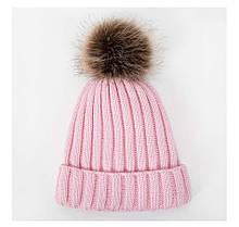 Детская зимняя шапка с теплым мехом с помпоном светло-розовая для девочки 7 - 8 - 9 - 10 лет