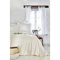 Набор постельное белье с покрывалом пике Karaca Home - Elonora ekru 2020-1 молочный евро