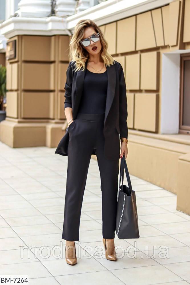 Женский костюм-двойка черного цвета брюки и пиджак, размеры 42, 44, 46